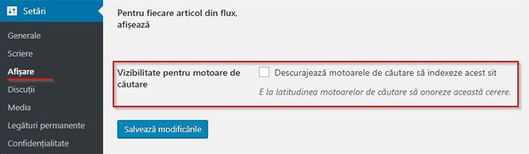 optiunea de-indexare in wordpress