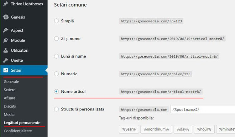 setarea structurii url in WordPress
